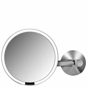 simplehuman - Sensor Mirrors 5 x Magnification Wall Mounted 20cm Sensor Mirror: Round, Brushed Stainless Steel, Rechargeable for Women