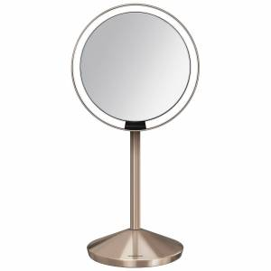 simplehuman - Sensor Mirrors 10 x Magnification 12cm Sensor Mirror: Round, with Travel Case, Rose Gold for Women