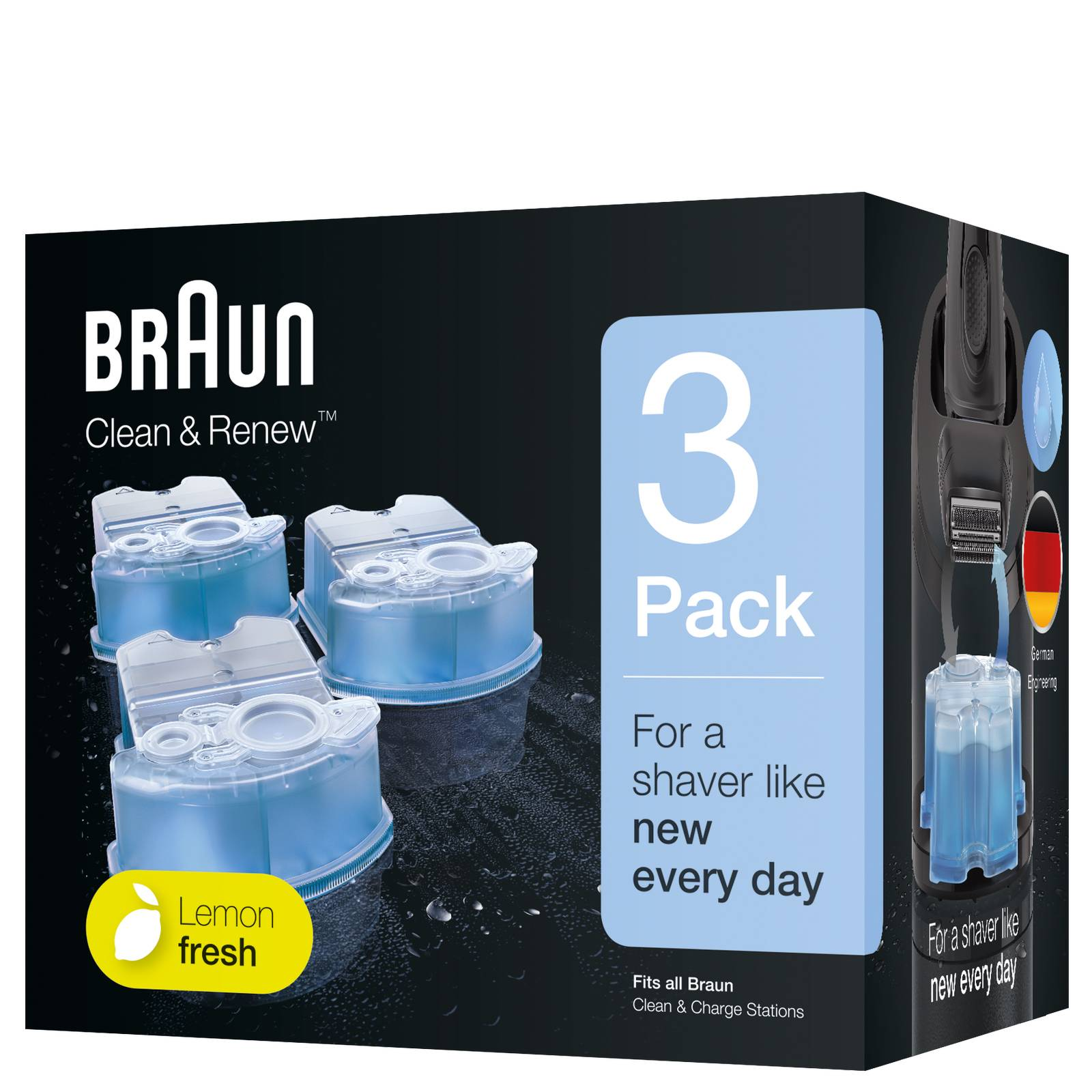 Braun - Accessories Clean & Charge Refill 3 Pack for Men