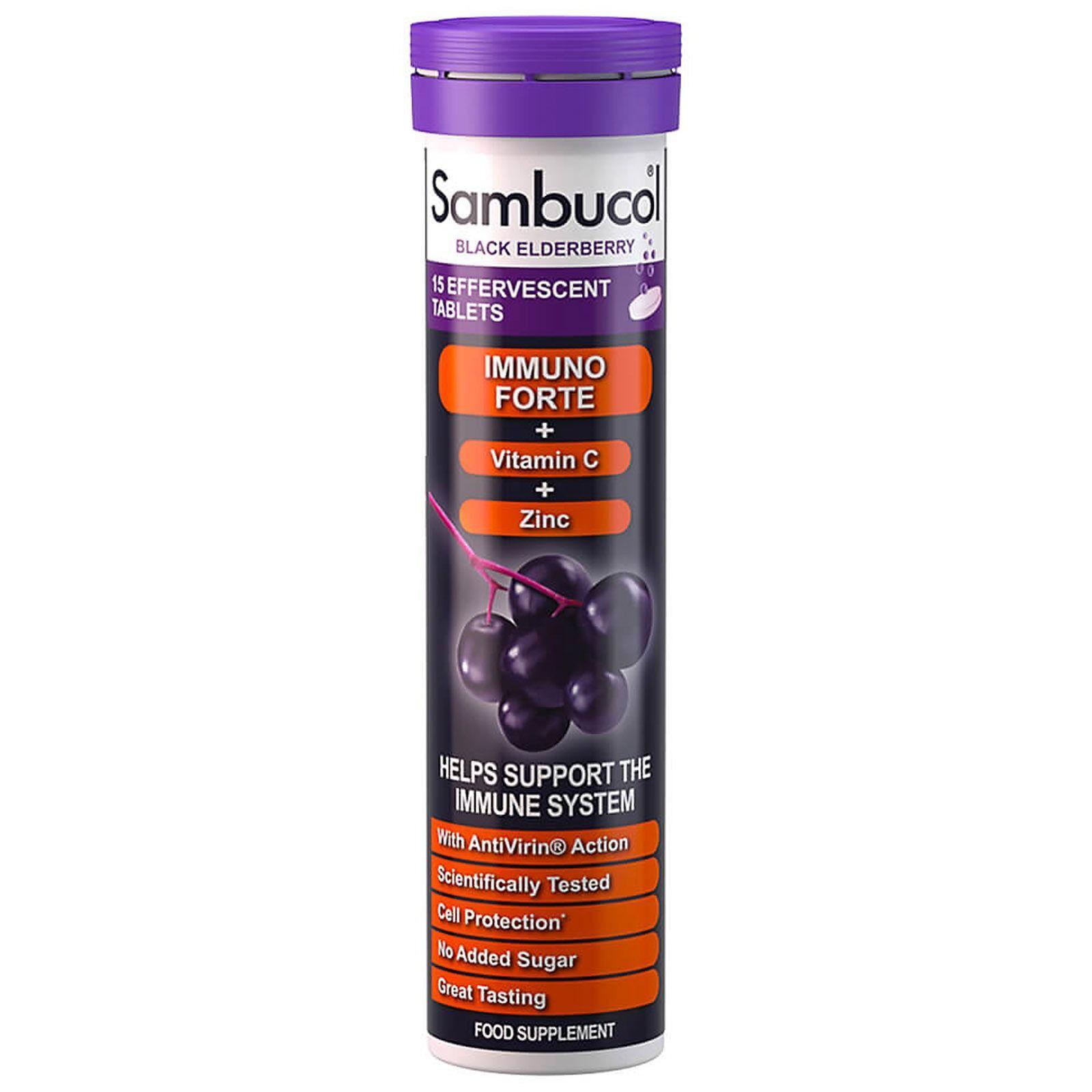 Sambucol - Black Elderberry Immuno Forte Effervescent Tablets x 15 for Men and Women