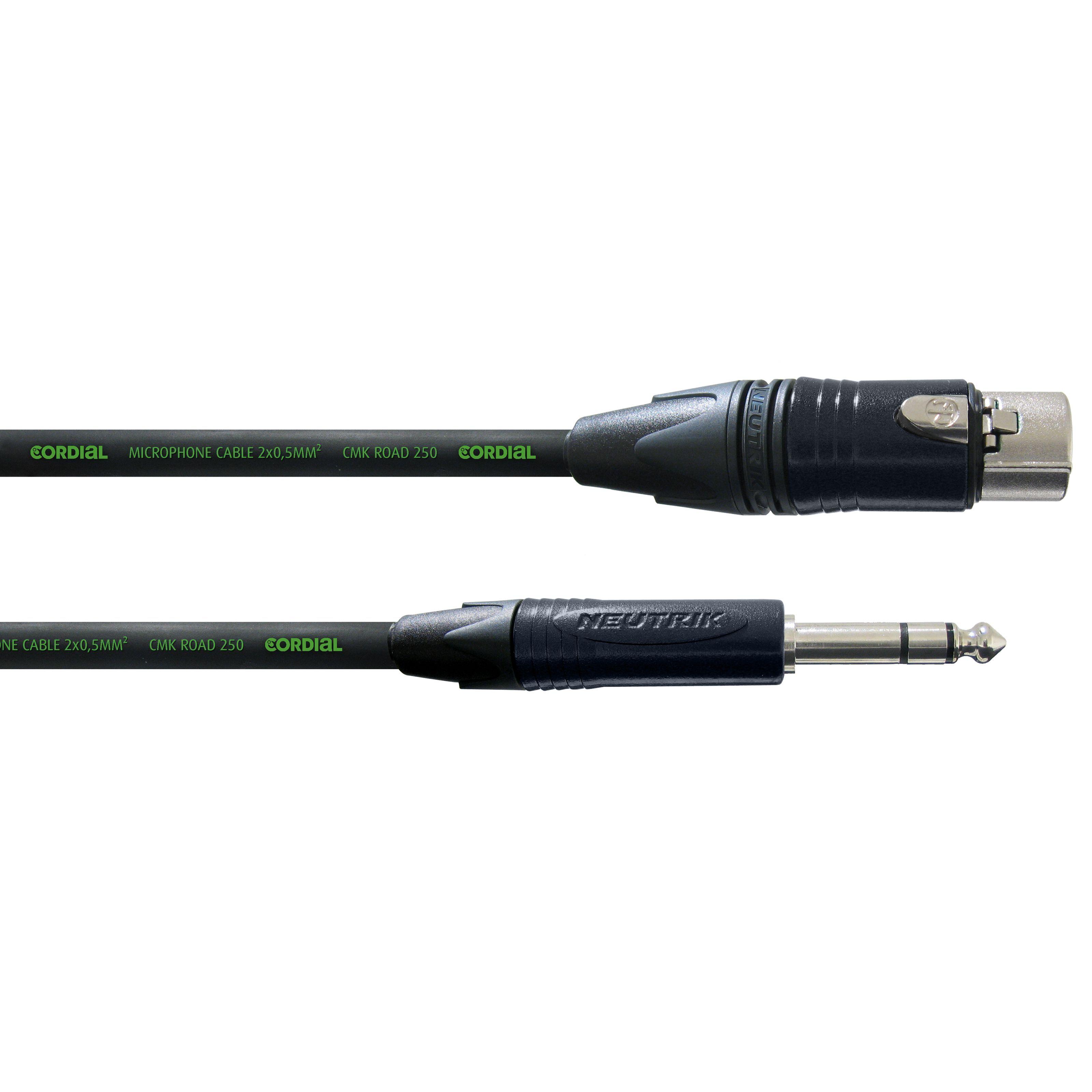 Cordial CRM 5 FV encore Mircophone Cable XLR female - Jack stereo 5m Neutrik