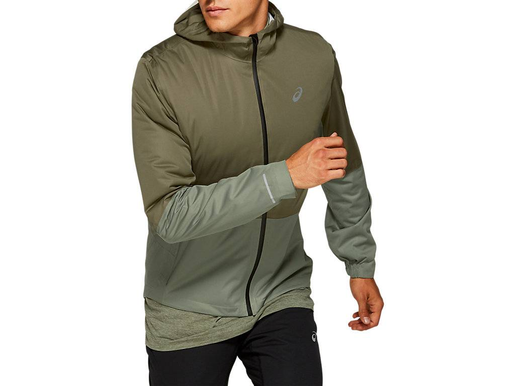 ASICS WINTER ACCELERATE JACKET - MANTLE GREEN / LICHEN GREEN - Size: Extra Large