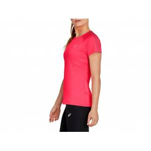 ASICS STRIPE SS TOP - DIVA PINK/DARK GREY - Size: Extra Small