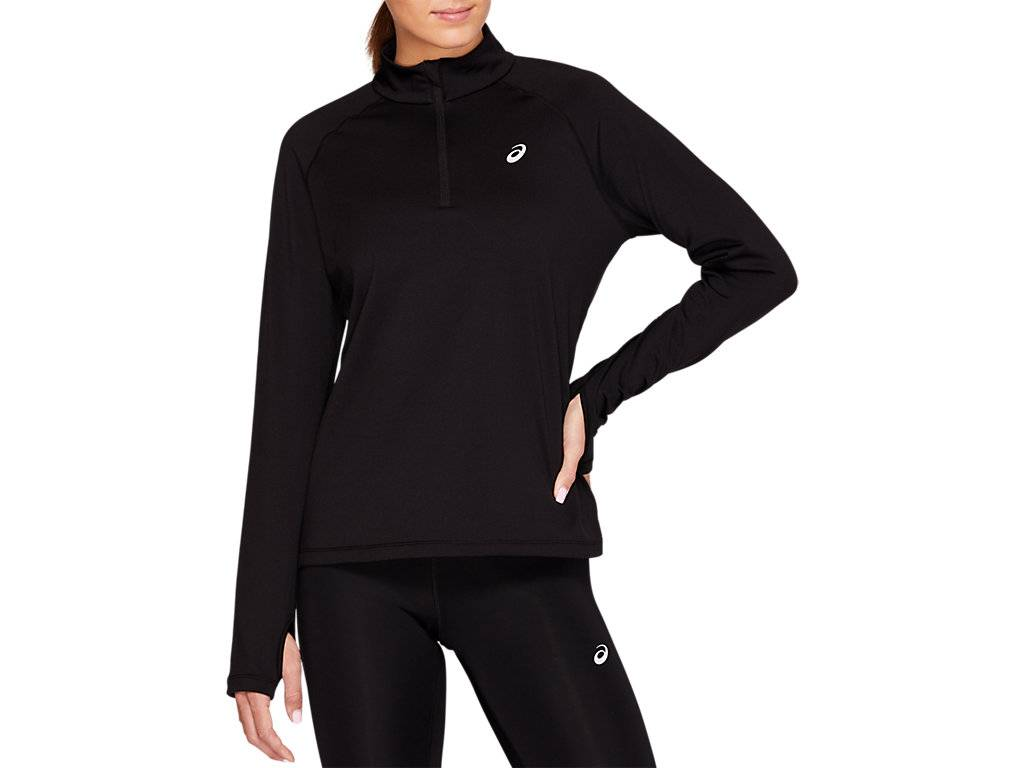ASICS WINTER 1/2 ZIP TOP - PERFORMANCE BLACK - Size: Extra Small