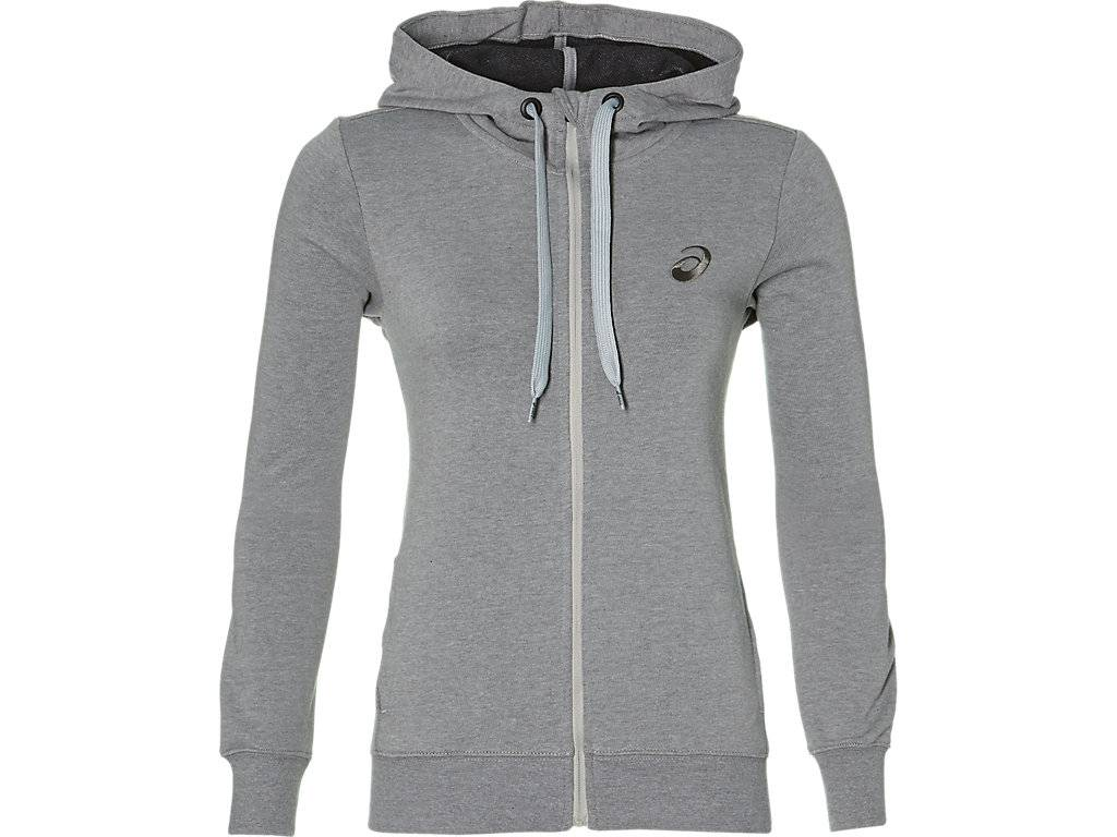 ASICS CHEST LOGO FZ HOODIE - MID GREY HEATHER/ - Size: Small