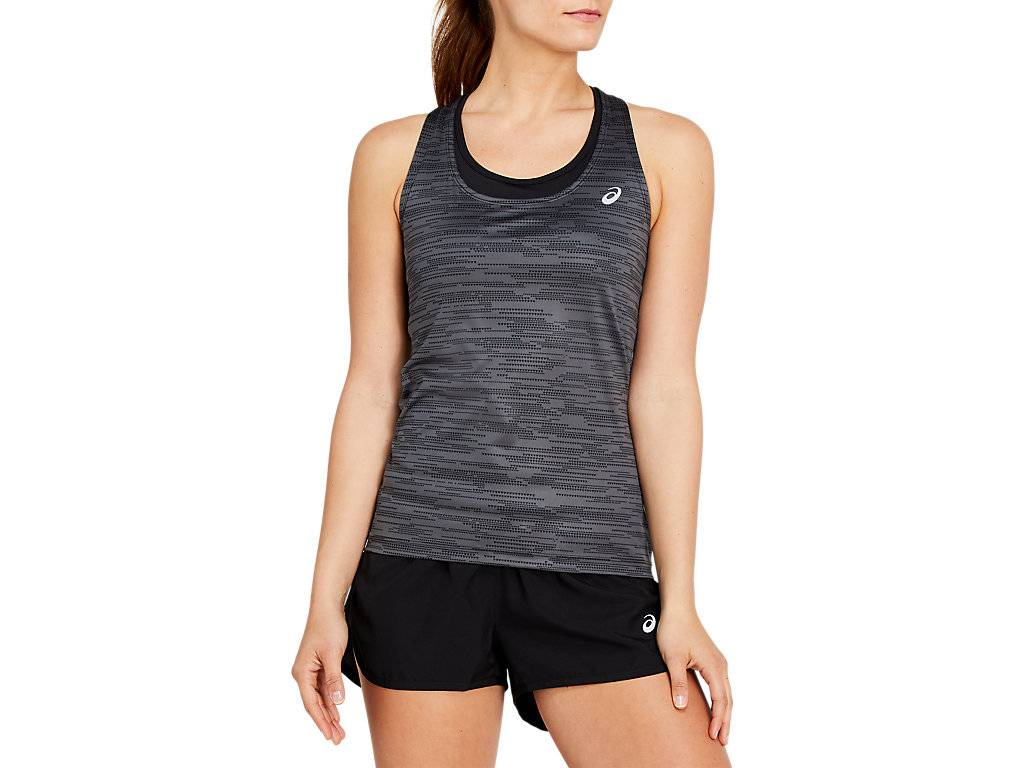 ASICS FITTED GPX TANK - DARK GREY/PERFORMANCE BLACK - Size: Extra Small