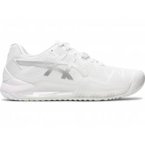 ASICS GEL-RESOLUTION 8 - WHITE/PURE SILVER - Size: 4
