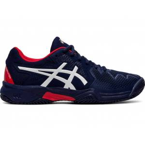 ASICS GEL-RESOLUTION™ 8 CLAY GS - PEACOAT/CLASSIC RED - Size: 2.5