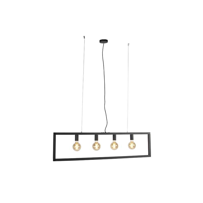 QAZQA Modern hanging lamp black 4-light - Simple Cage 2