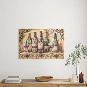 East Urban Home 'Wine Shelf' by Tre Sorelle Studios Watercolour Painting Print on Wrapped Canvas East Urban Home Size: 60.96cm H x 91.44cm W  - Size: 40.64cm H x 60.96cm W