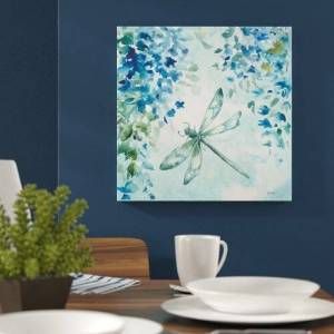 East Urban Home 'Wisteria and Dragonfly II' by Tre Sorelle Studios Watercolour Painting Print on Wrapped Canvas East Urban Home Size: 45.72cm H x 45.72cm W  - Size: 45.72cm H x 45.72cm W