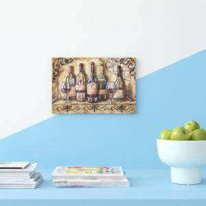 East Urban Home 'Wine Shelf' by Tre Sorelle Studios Watercolour Painting Print on Wrapped Canvas  - Size: 62.0 H x 87.0 W x 2.0 D cm