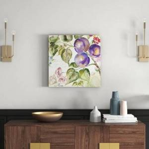 East Urban Home 'Plum' by Tre Sorelle Studios Watercolour Painting Print on Wrapped Canvas East Urban Home Size: 60.96cm H x 60.96cm W  - Size: 91.44cm H x 121.92cm W