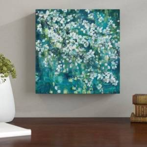 East Urban Home Teal Blossoms III by Tre Sorelle Studios - Wrapped Canvas Graphic Art Print East Urban Home Size: 45.72cm H x 45.72cm W  - Size: 60.96cm H x 60.96cm W