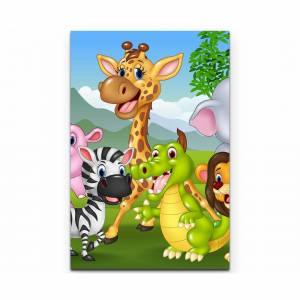 East Urban Home Cartoon of Wild Animals in the Jungle Print on Canvas  - Size: 91.0 H x 58.0 W x 56.0 D cm