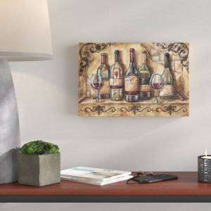East Urban Home 'Wine Shelf' by Tre Sorelle Studios Watercolour Painting Print on Wrapped Canvas East Urban Home Size: 40.64cm H x 60.96cm W  - Size: 121.92cm H x 121.92cm W