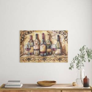 East Urban Home 'Wine Shelf' by Tre Sorelle Studios Watercolour Painting Print on Wrapped Canvas  - Size: 220.0 H x 175.0 W cm