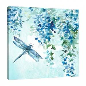 East Urban Home Wisteria and Dragonfly by Tre Sorelle Studios - Wrapped Canvas Graphic Art Print East Urban Home Size: 45.72cm H x 45.72cm W  - Size: 121.92cm H x 121.92cm W