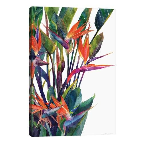 East Urban Home 'Bird of Paradise' by Maja Wronska Print on Wrapped Canvas East Urban Home  - Size: 45.72cm H x 66.04cm W x 1.91cm D