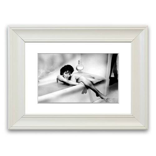 East Urban Home 'Joan Collins in The Tube' Framed Photographic Print East Urban Home Size: 93 cm H x 126 cm W, Frame Options: Matte White  - Size: 50 cm H x 70 cm W