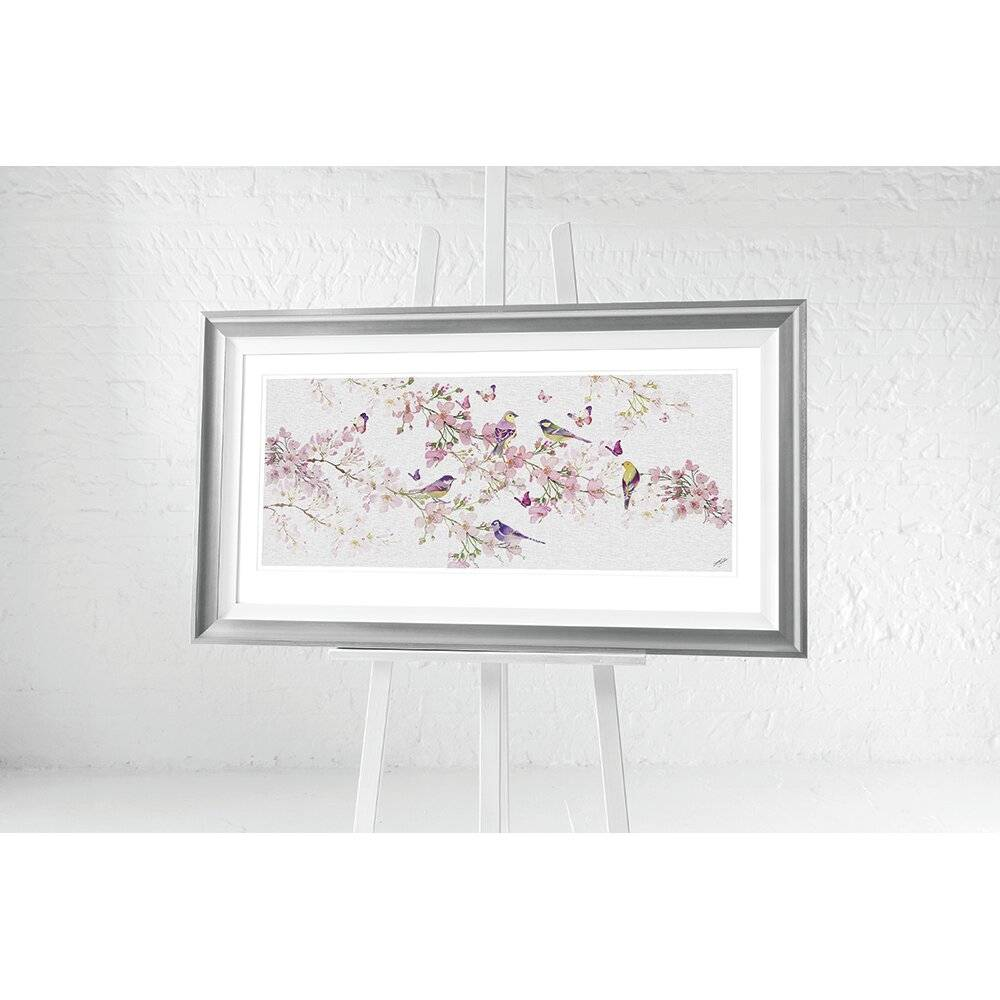 Brayden Studio Birds and Blossom by Summer Thornton - Picture Frame Print  - Size: 198.1 H x 68.6 W cm