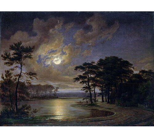 East Urban Home Holstein Sea - Moonlight, 1847 by Johann Georg Haeselich Framed Art Print East Urban Home Size: Medium  - Size: 100cm H x 70cm W x 0.2cm D