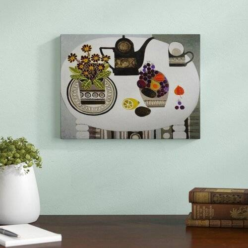 Magnolia Box Auricula and Black Coffeepot by Vanessa Bowman Framed Art Print Magnolia Box Size: Large  - Size: Large