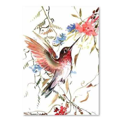 Americanflat 'Hummingbird' by Suren Nersisyan Painting Print on Wrapped Canvas Americanflat Size: 30 cm H x 20 cm W  - Size: 30 cm H x 20 cm W