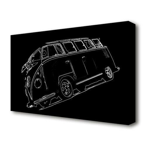 East Urban Home 'VW Camper White on Black' Drawing Print on Canvas East Urban Home Size: 81.3 cm H x 121.9 cm W  - Size: 81.3 cm H x 121.9 cm W