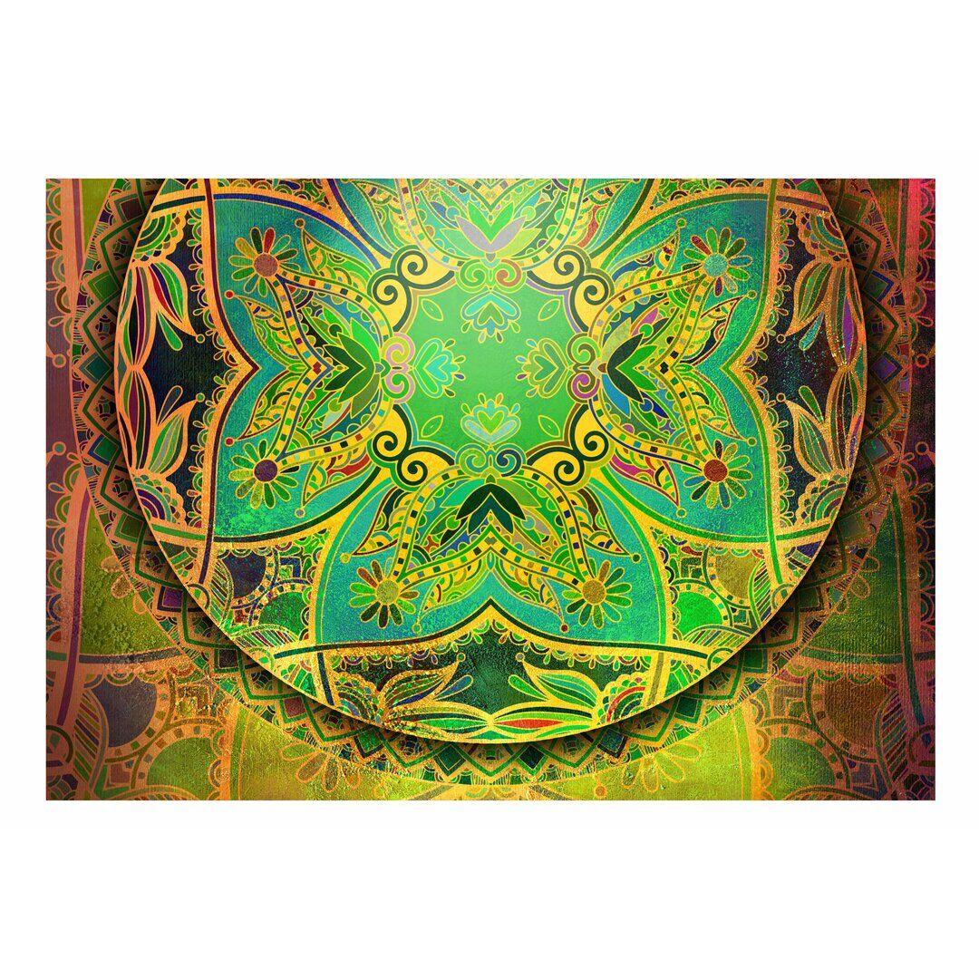East Urban Home Mandala Emerald Fantasy Semi-Gloss Paste the Wall Mural  - Size: 300.0 H x 1.0 D cm
