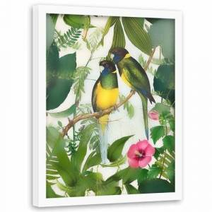 Bay Isle Home 'Two Parrots' - Picture Frame Graphic Art Print on Paper Bay Isle Home Size: 70cm H x 50cm W x 3cm D  - Size: 70cm H x 50cm W x 3cm D