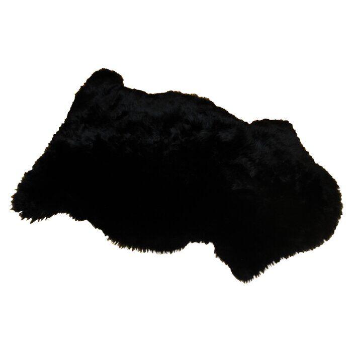 Bowron Sheepskin Long Wool Gold Star Sheepskin Black Rug  - Size: 199.9996 H x 299.9994 W x 299.9994 D cm