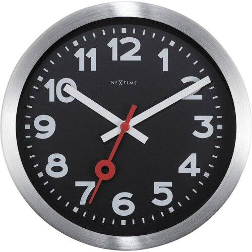 NeXtime Station Aluminium Wall Clock NeXtime Size: 19cm H x 19cm W x 3.8cm D  - Size: 19cm H x 19cm W x 3.8cm D