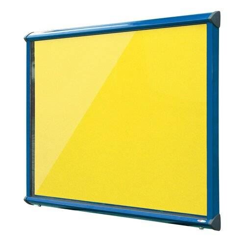 Symple Stuff Exterior Wall Mounted Bulletin Board Symple Stuff Size: 105cm H x 118.2cm W, Frame Finish: Blue, Colour: Yellow  - Size: 105cm H x 118.2cm W
