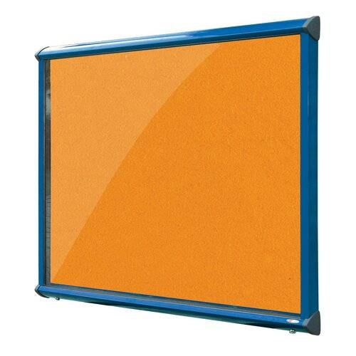 Symple Stuff Exterior Wall Mounted Bulletin Board Symple Stuff Size: 57cm H x 71.2cm W, Frame Finish: Blue, Colour: Orange  - Size: 57cm H x 71.2cm W