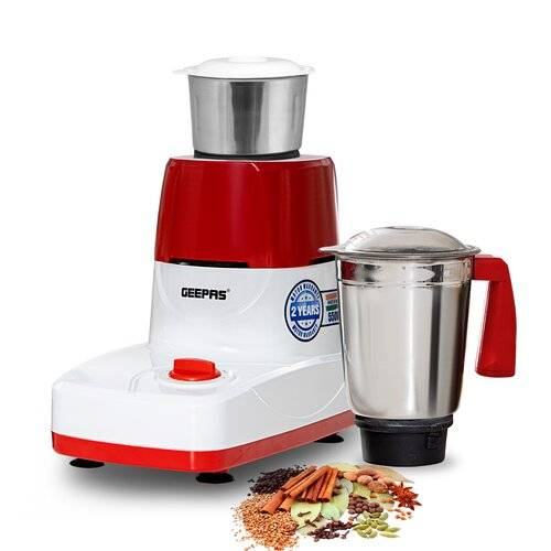 Geepas 2-In-1 Dry & Wet Indian Mixer Grinder with Stainless Steel Jar & Blade Geepas  - Size: 36cm H X 30cm W X 30cm D