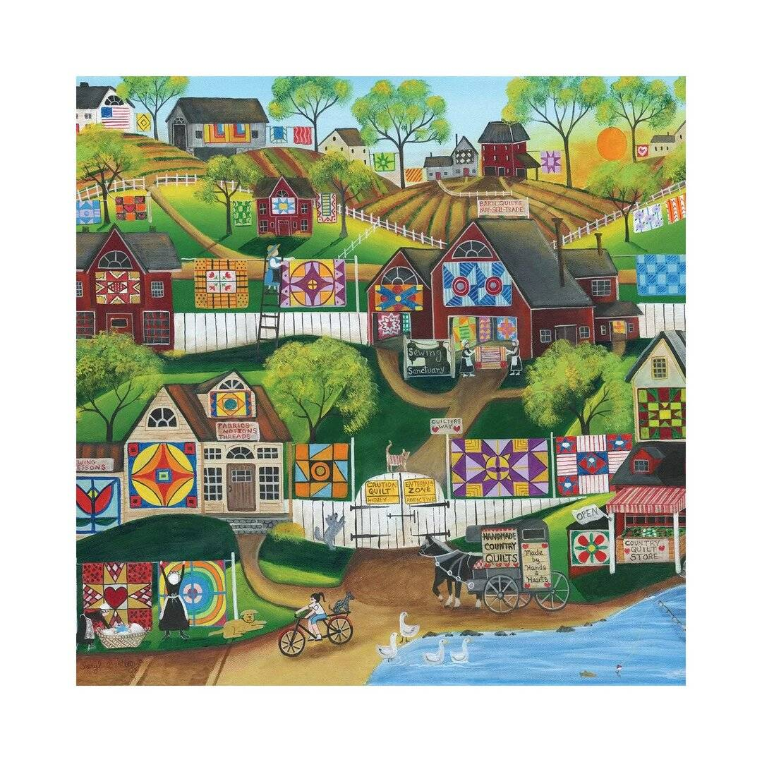 August Grove Quilt Sewing Sanctuary by Cheryl Bartley - Graphic Art Print on Canvas  - Size: 93.0 H x 126.0 W x 1.0 D cm