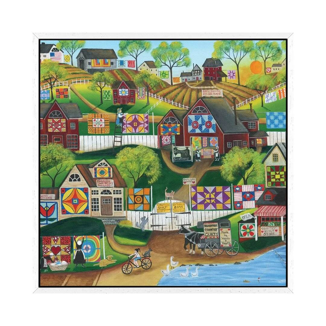 August Grove Quilt Sewing Sanctuary by Cheryl Bartley - Graphic Art Print on Canvas  - Size: 49.0 H x 110.0 W x 42.0 D cm