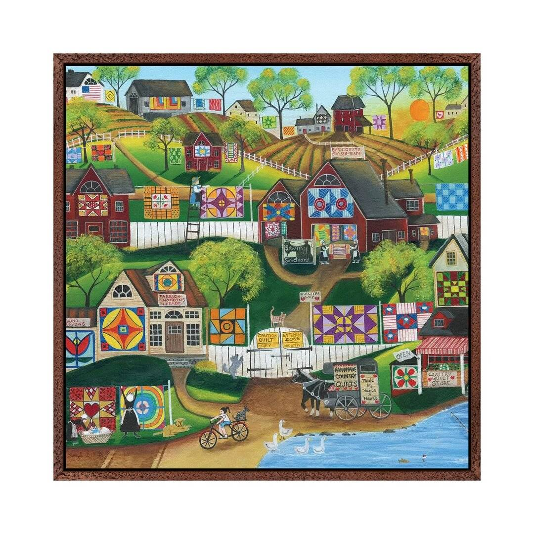 August Grove Quilt Sewing Sanctuary by Cheryl Bartley - Graphic Art Print on Canvas  - Size: 40.0 H x 40.0 W x 10.0 D cm