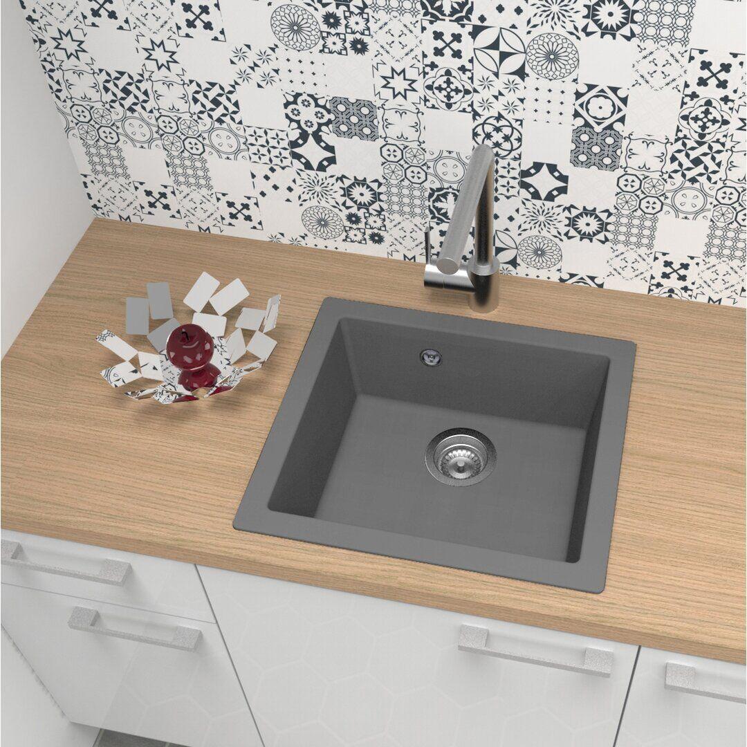 respekta Mineralite fitted sink 1 basin, black - Size: 50.0 H x 19.0 W x 44.0 D cm
