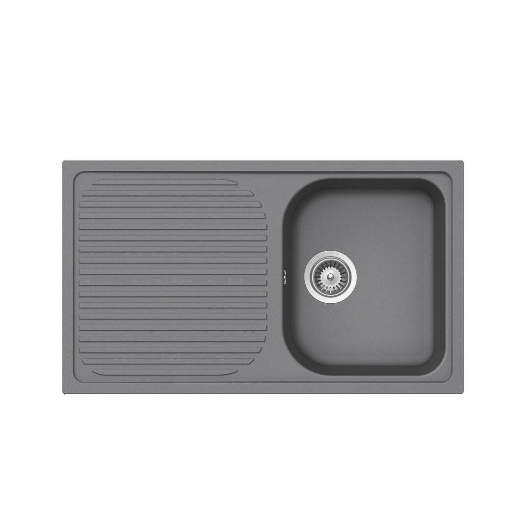 SCHOCK Lithos Single Bowl Inset Kitchen Sink  - Size: 60.0 H x 60.0 W x 3.0 D cm