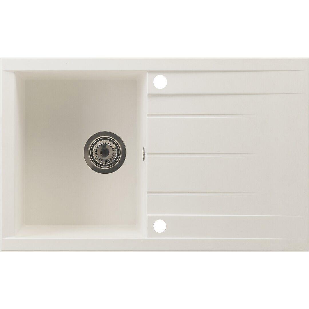 respekta Houston Single Bowl Inset Kitchen Sink - Size: 21.0 H x 80.0 W x 50.0 D cm