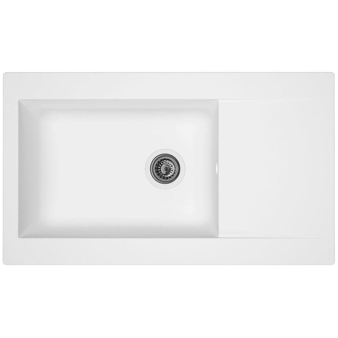 respekta Boston Single Bowl Inset Kitchen Sink - Size: 20.0 H x 86.0 W x 50.0 D cm