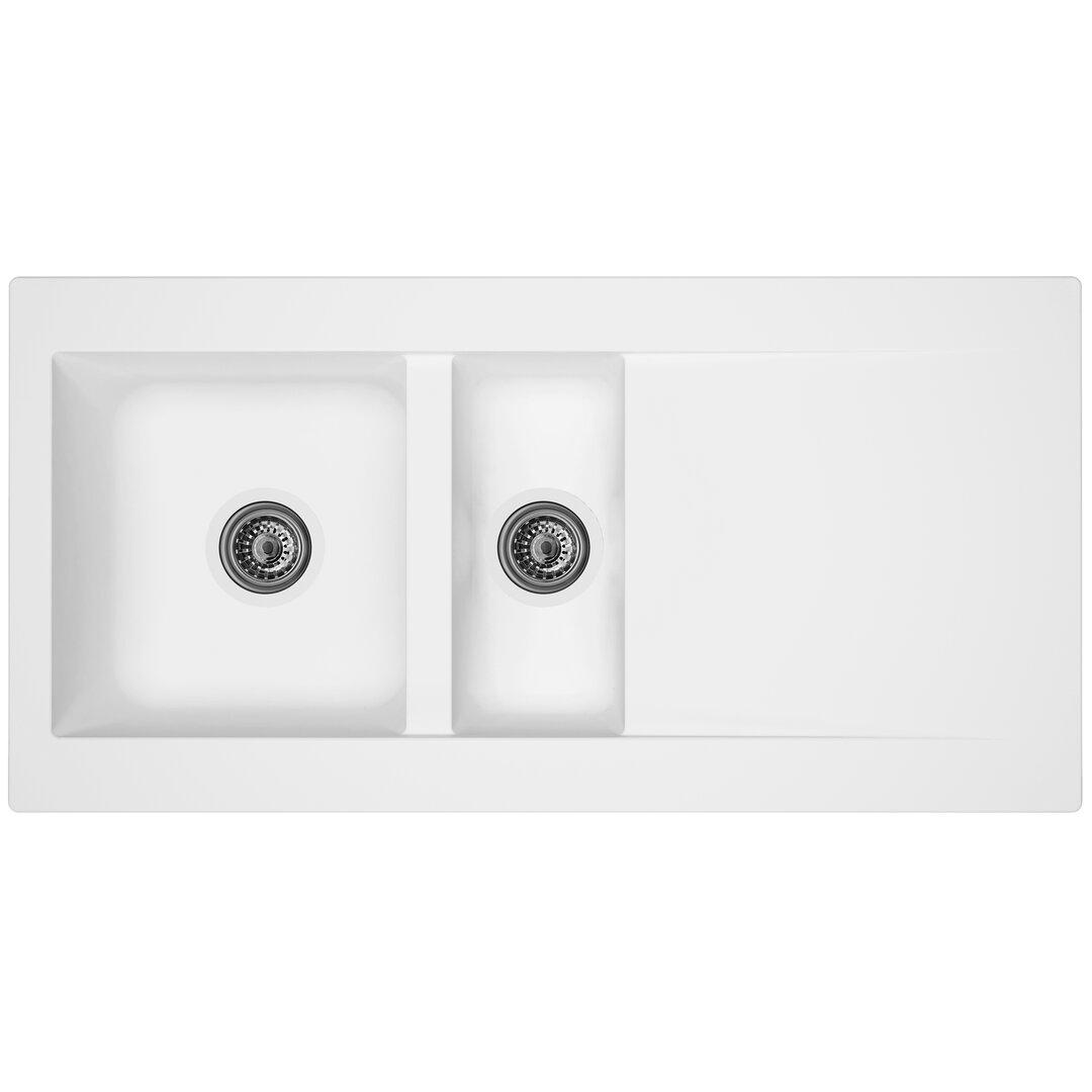 respekta DenverBowl Insert Kitchen Sink 1.5 Bowl Inset Kitchen Sink - Size: 20.0 H x 100.0 W x 50.0 D cm