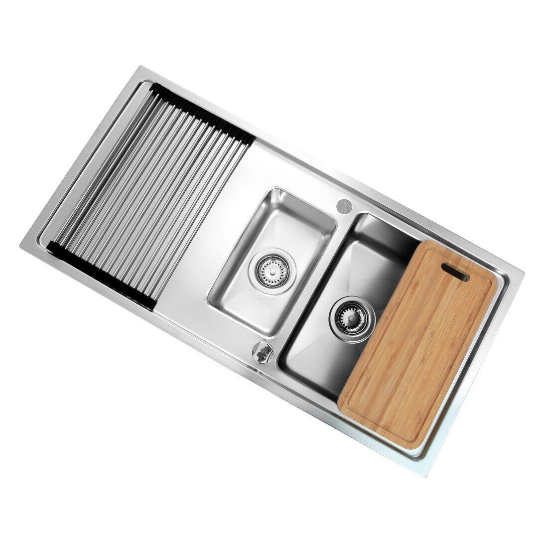 respekta Chicago 1.5 Bowl Inset Kitchen Sink - Size: 21.0 H x 100.0 W x 50.0 D cm