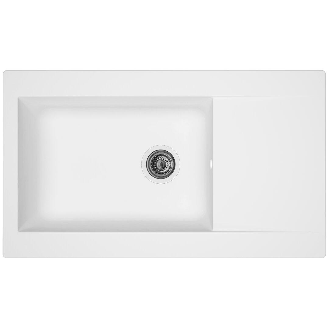 respekta Denver Single Bowl Inset Kitchen Sink - Size: 20.0 H x 86.0 W x 50.0 D cm