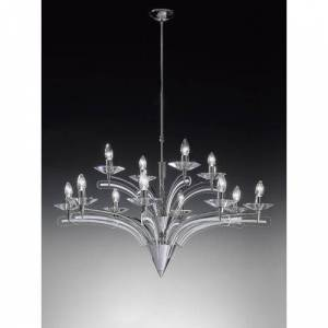 Metal Lux Icaro 12-Light Candle-Style Chandelier Metal Lux Finish: Silver  - Size: 54cm H X 14cm W