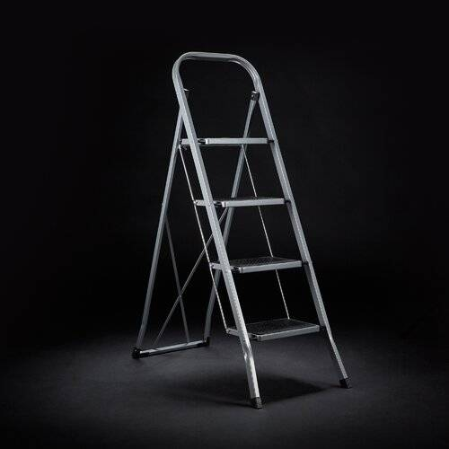 Symple Stuff Alby 4 ft Steel Step Ladder with 330 lb. Load Capacity Symple Stuff  - Size: 114cm H X 91cm W X 290cm D
