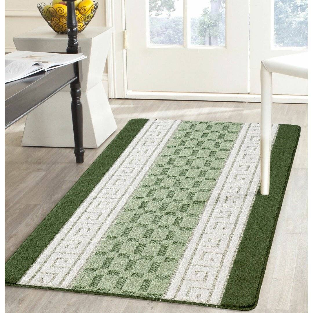 17 Stories Allisandra Flatweave Green Rug  - Size: 30.48 H x 91.44 W x 1.91 D cm