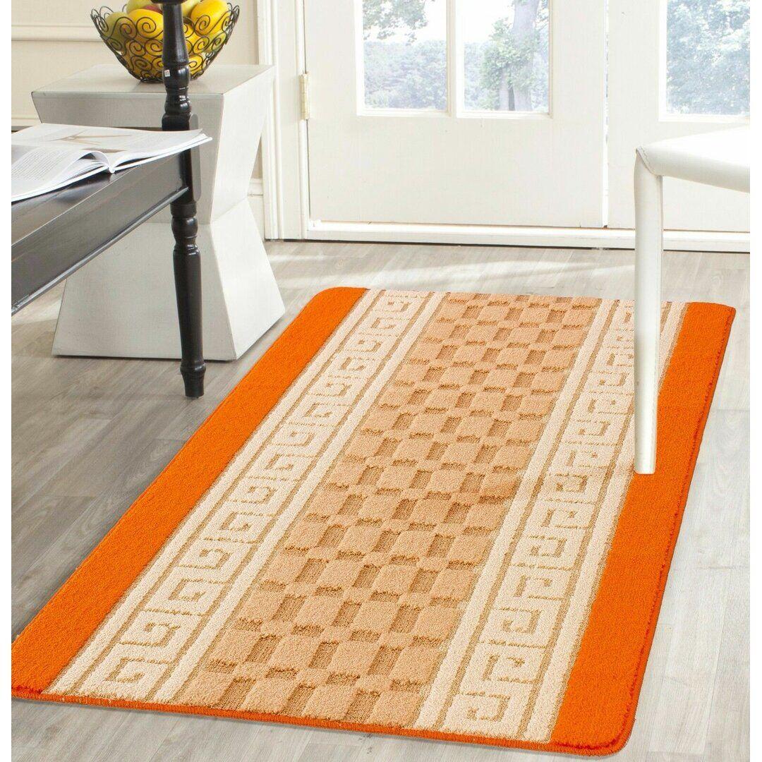 17 Stories Allisandra Flatweave Orange Rug  - Size: 75.0 H cm